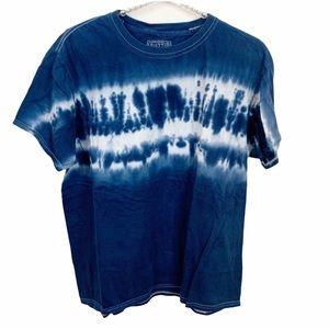 Buzz Men's Blue Tie Dyed Crewneck T-shirt